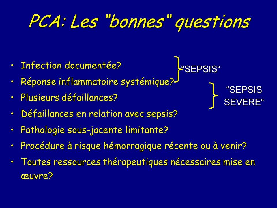 PCA: Les bonnes questions Infection documentée?Infection documentée.