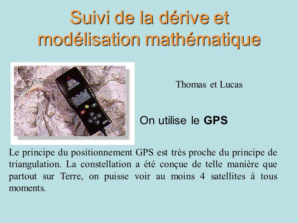 Suivi de la dérive et modélisation mathématique On utilise le GPS Le principe du positionnement GPS est très proche du principe de triangulation. La c