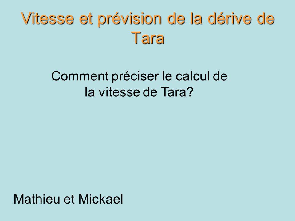 Vitesse et prévision de la dérive de Tara Mathieu et Mickael Comment préciser le calcul de la vitesse de Tara?