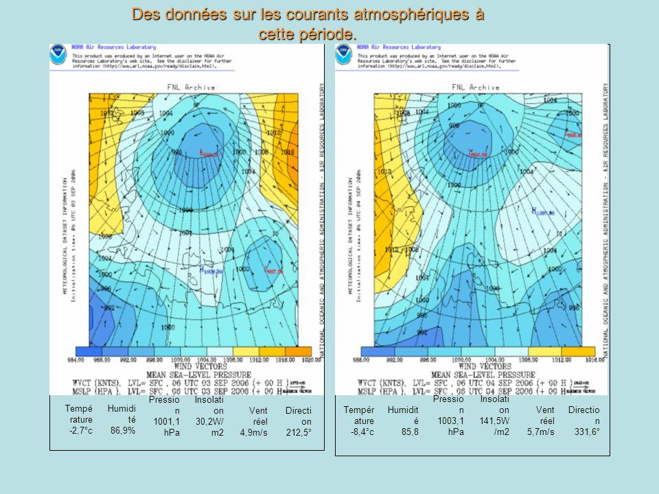 Tempé rature -2,7°c Humidi té 86,9% Pressio n 1001,1 hPa Insolati on 30,2W/ m2 Vent réel 4,9m/s Directi on 212,5° Tempér ature -8,4°c Humidit é 85,8 P