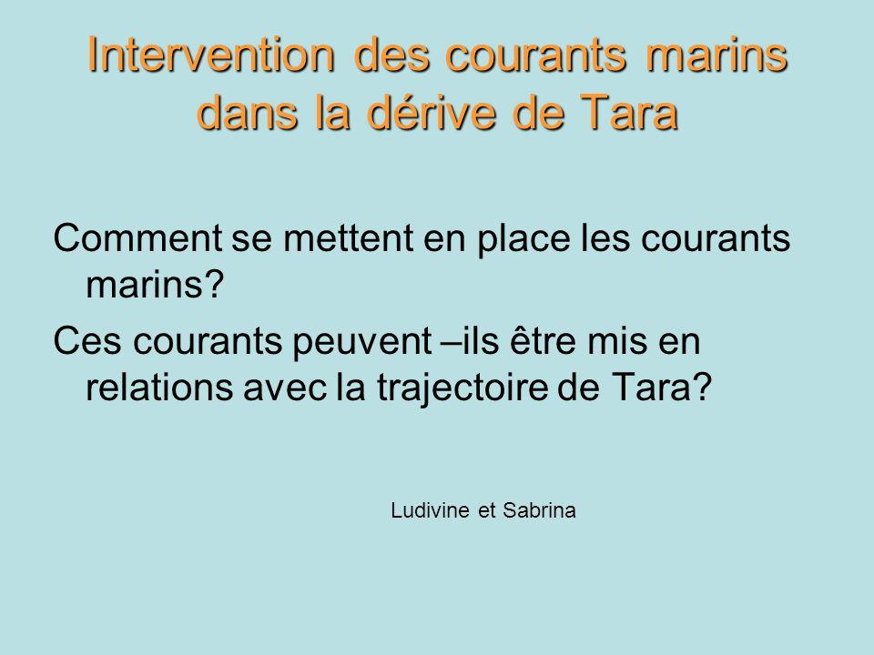Intervention des courants marins dans la dérive de Tara Comment se mettent en place les courants marins? Ces courants peuvent –ils être mis en relatio