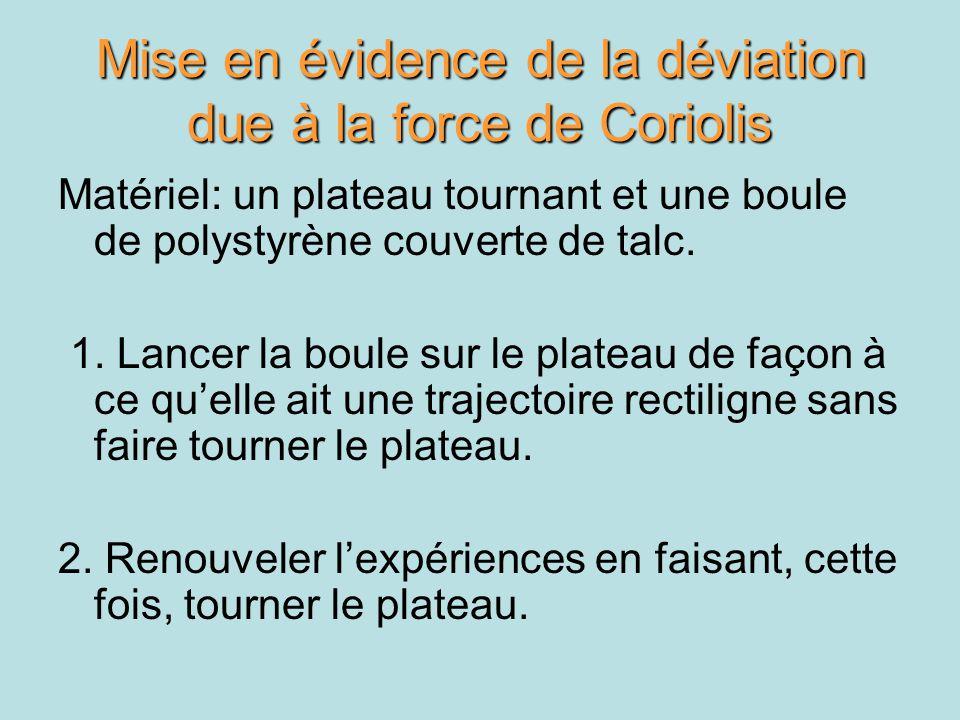 Mise en évidence de la déviation due à la force de Coriolis Matériel: un plateau tournant et une boule de polystyrène couverte de talc. 1. Lancer la b