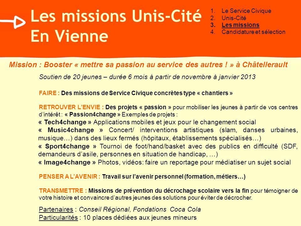 Mission : Booster « mettre sa passion au service des autres ! » à Châtellerault Soutien de 20 jeunes – durée 6 mois à partir de novembre à janvier 201