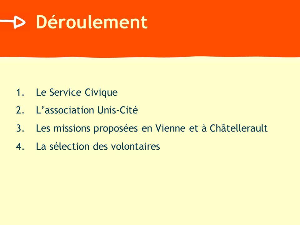 Déroulement 1.Le Service Civique 2.Lassociation Unis-Cité 3.Les missions proposées en Vienne et à Châtellerault 4.La sélection des volontaires