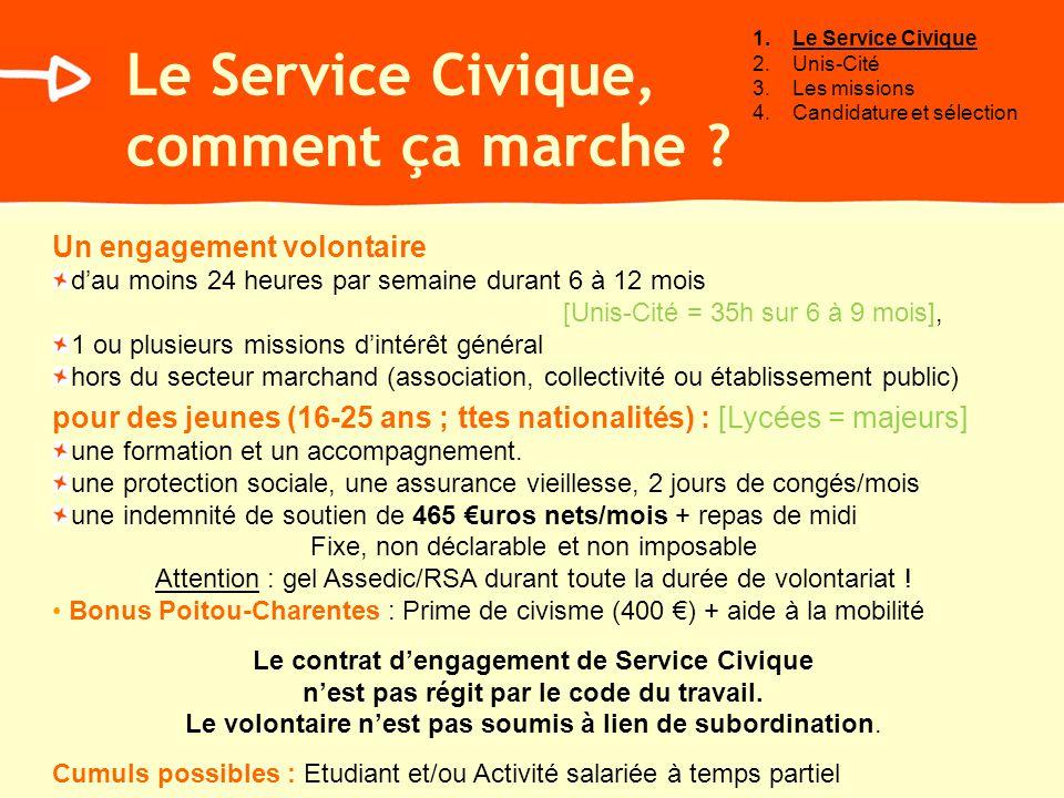 Le Service Civique, comment ça marche ? Un engagement volontaire dau moins 24 heures par semaine durant 6 à 12 mois [Unis-Cité = 35h sur 6 à 9 mois],
