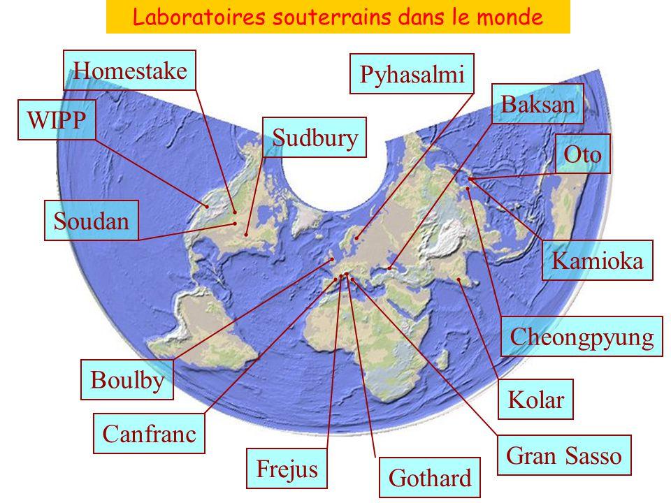 Laboratoires souterrains dans le monde WIPPHomestakeSoudanSudbury Boulby Canfranc Frejus Gothard Gran Sasso Kamioka Cheongpyung OtoBaksan Kolar Pyhasa