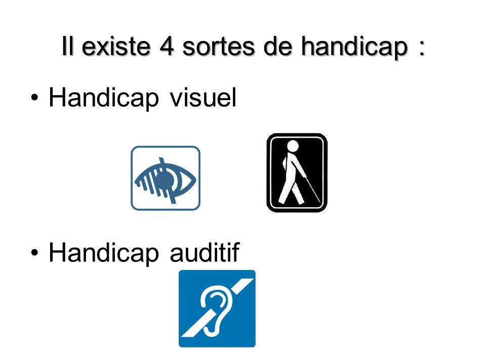 Il existe 4 sortes de handicap : Handicap visuel Handicap auditif