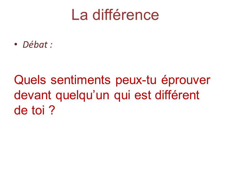 La différence Débat : Quels sentiments peux-tu éprouver devant quelquun qui est différent de toi ?