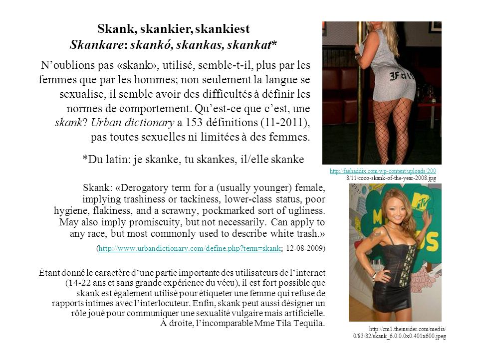 http://cm1.theinsider.com/media/ 0/83/82/skank_6.0.0.0x0.401x600.jpeg Skank: «Derogatory term for a (usually younger) female, implying trashiness or t