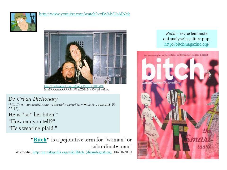 http://www.youtube.com/watch?v=BvMvUrAINck http://sexistentialiste.files.wordpress.com/2010/05/bitch24_lg1.jpg Bitch – revue féministe qui analyse la