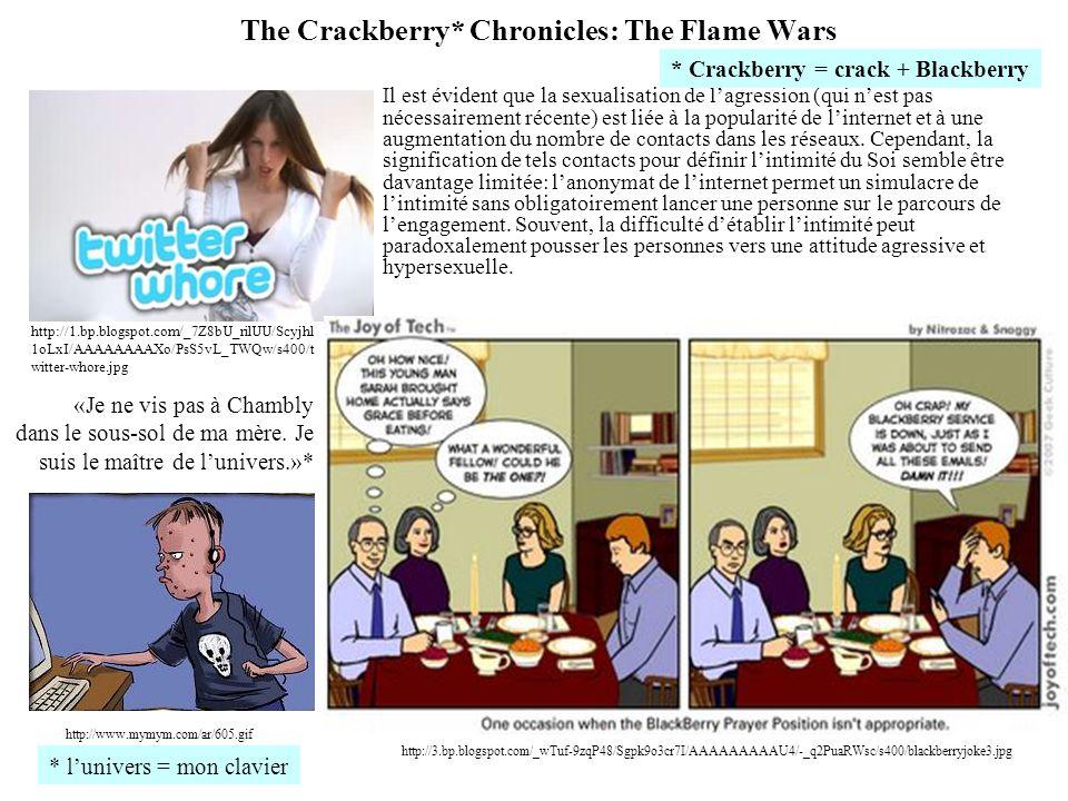 The Crackberry* Chronicles: The Flame Wars Il est évident que la sexualisation de lagression (qui nest pas nécessairement récente) est liée à la popul