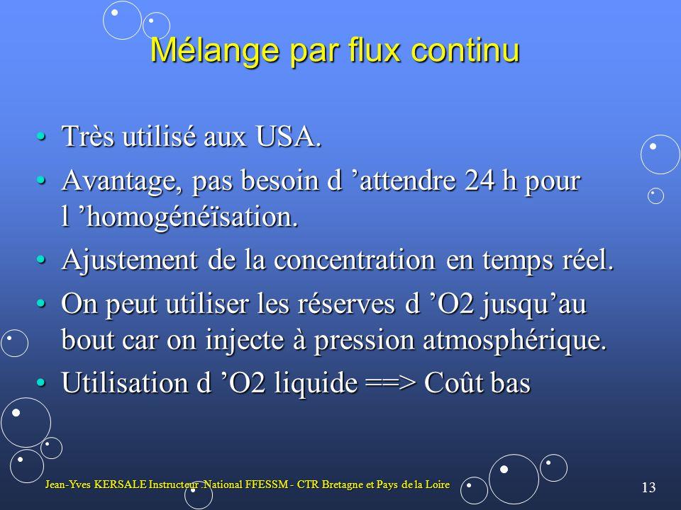 13 Jean-Yves KERSALE Instructeur.National FFESSM - CTR Bretagne et Pays de la Loire Mélange par flux continu Très utilisé aux USA.Très utilisé aux USA