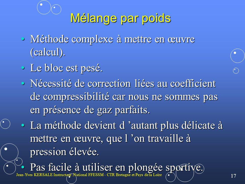 17 Jean-Yves KERSALE Instructeur.National FFESSM - CTR Bretagne et Pays de la Loire Mélange par poids Méthode complexe à mettre en œuvre (calcul).Méth