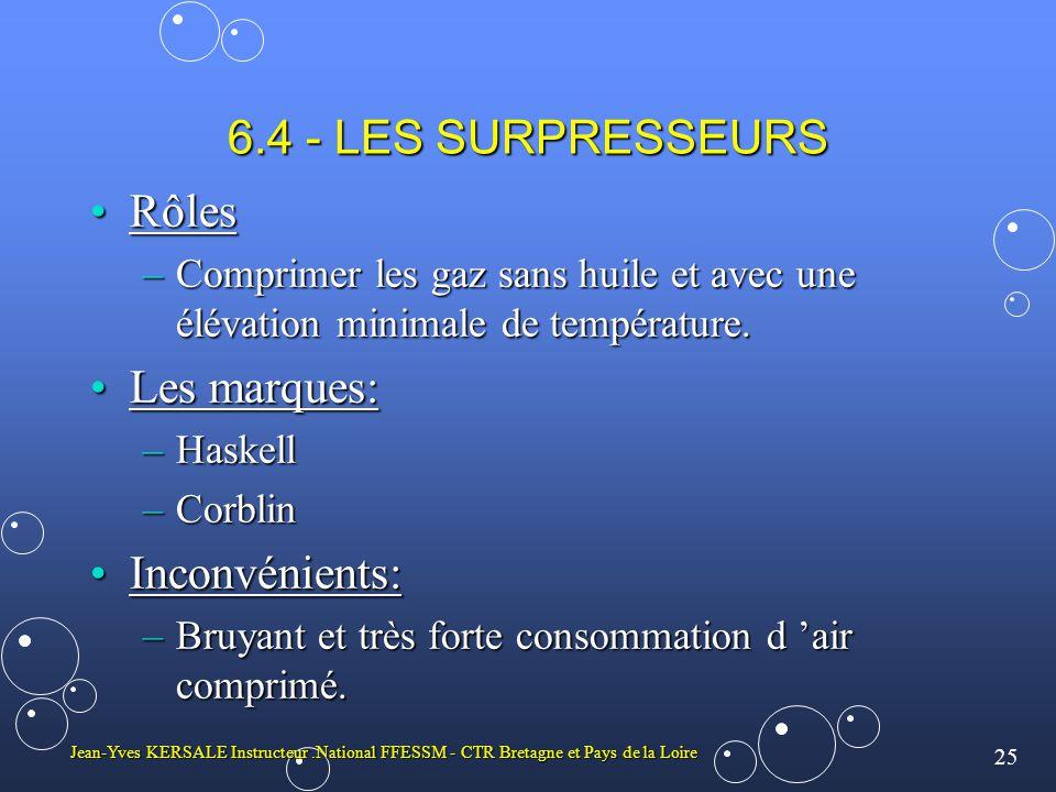 25 Jean-Yves KERSALE Instructeur.National FFESSM - CTR Bretagne et Pays de la Loire 6.4 - LES SURPRESSEURS RôlesRôles –Comprimer les gaz sans huile et