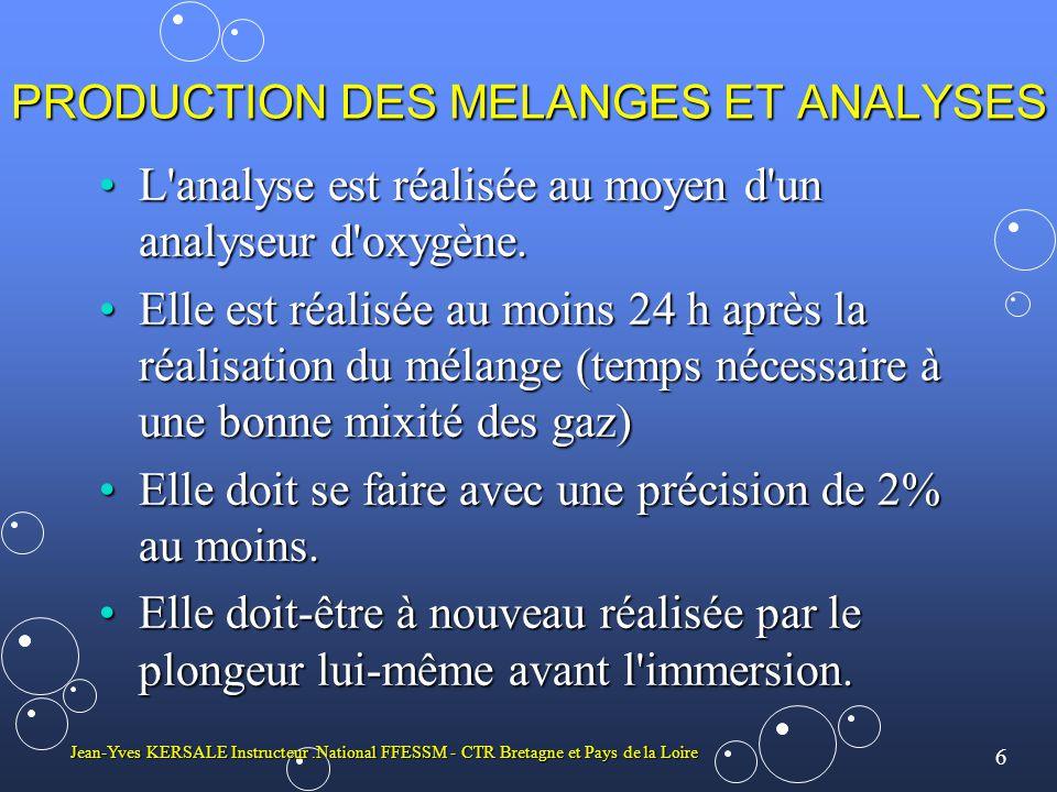 6 Jean-Yves KERSALE Instructeur.National FFESSM - CTR Bretagne et Pays de la Loire PRODUCTION DES MELANGES ET ANALYSES L'analyse est réalisée au moyen