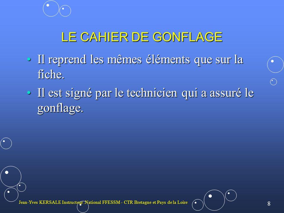 8 Jean-Yves KERSALE Instructeur.National FFESSM - CTR Bretagne et Pays de la Loire LE CAHIER DE GONFLAGE Il reprend les mêmes éléments que sur la fich