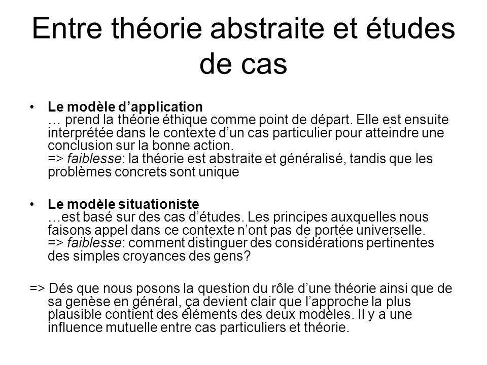 Entre théorie abstraite et études de cas Le modèle dapplication … prend la théorie éthique comme point de départ. Elle est ensuite interprétée dans le
