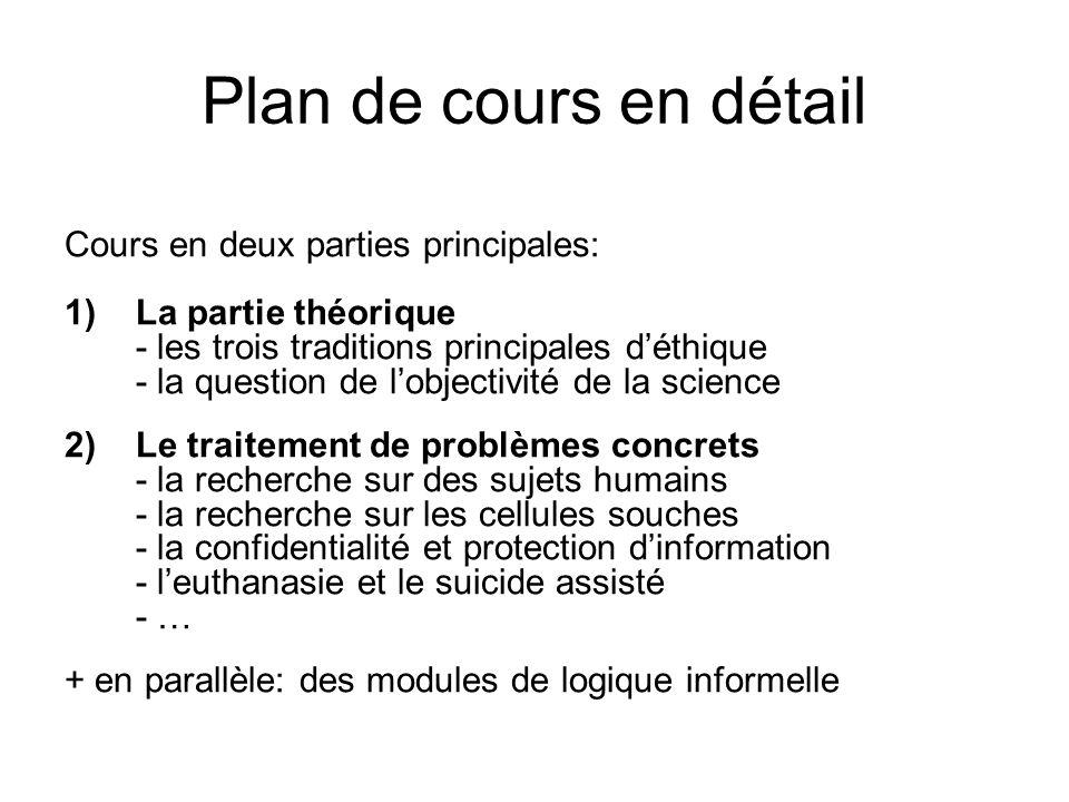 Plan de cours en détail Cours en deux parties principales: 1)La partie théorique - les trois traditions principales déthique - la question de lobjecti