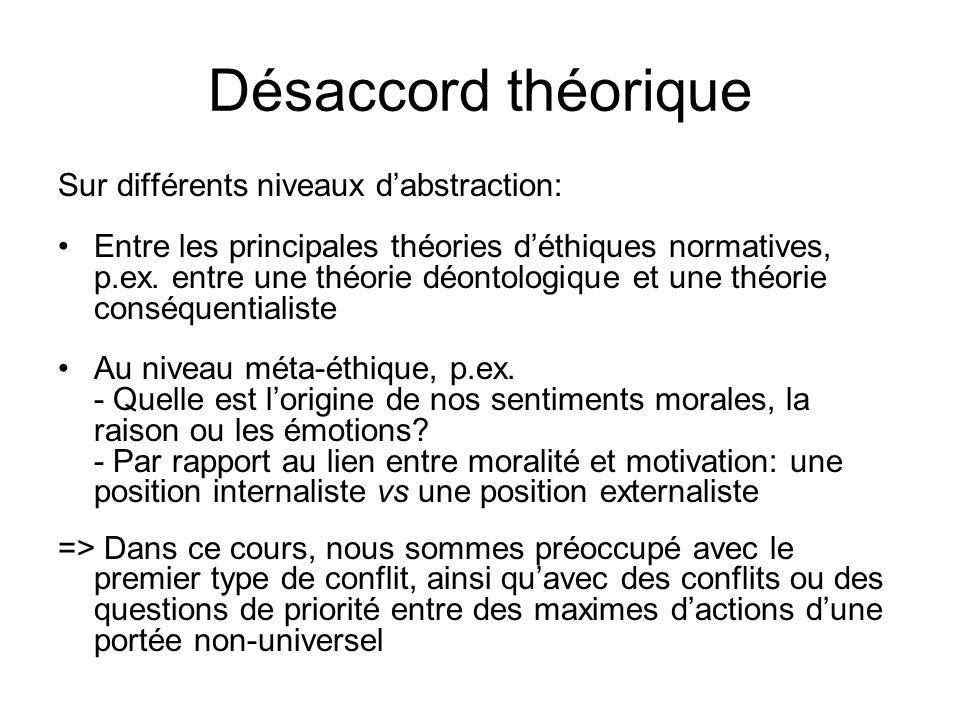 Désaccord théorique Sur différents niveaux dabstraction: Entre les principales théories déthiques normatives, p.ex. entre une théorie déontologique et