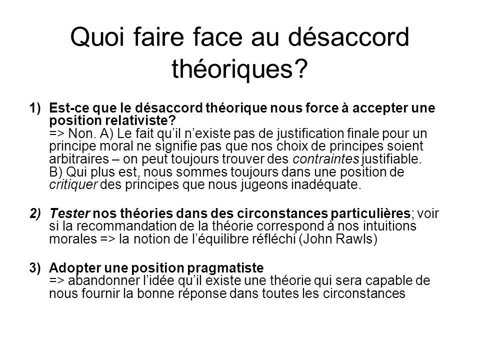 Quoi faire face au désaccord théoriques? 1)Est-ce que le désaccord théorique nous force à accepter une position relativiste? => Non. A) Le fait quil n