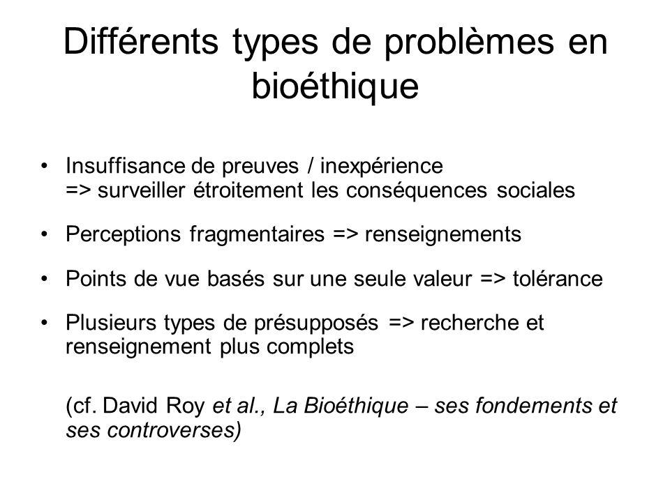 Différents types de problèmes en bioéthique Insuffisance de preuves / inexpérience => surveiller étroitement les conséquences sociales Perceptions fra
