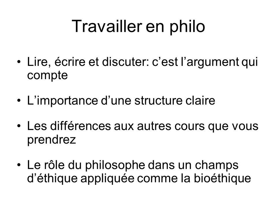 Travailler en philo Lire, écrire et discuter: cest largument qui compte Limportance dune structure claire Les différences aux autres cours que vous pr