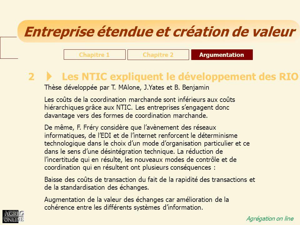Entreprise étendue et création de valeur Agrégation on line 2 Les NTIC expliquent le développement des RIO Thèse développée par T. MAlone, J.Yates et