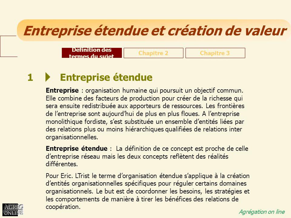 Entreprise étendue et création de valeur Agrégation on line 1 Entreprise étendue Entreprise : organisation humaine qui poursuit un objectif commun. El