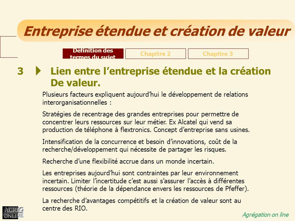 Entreprise étendue et création de valeur Agrégation on line 3 Lien entre lentreprise étendue et la création De valeur. Plusieurs facteurs expliquent a
