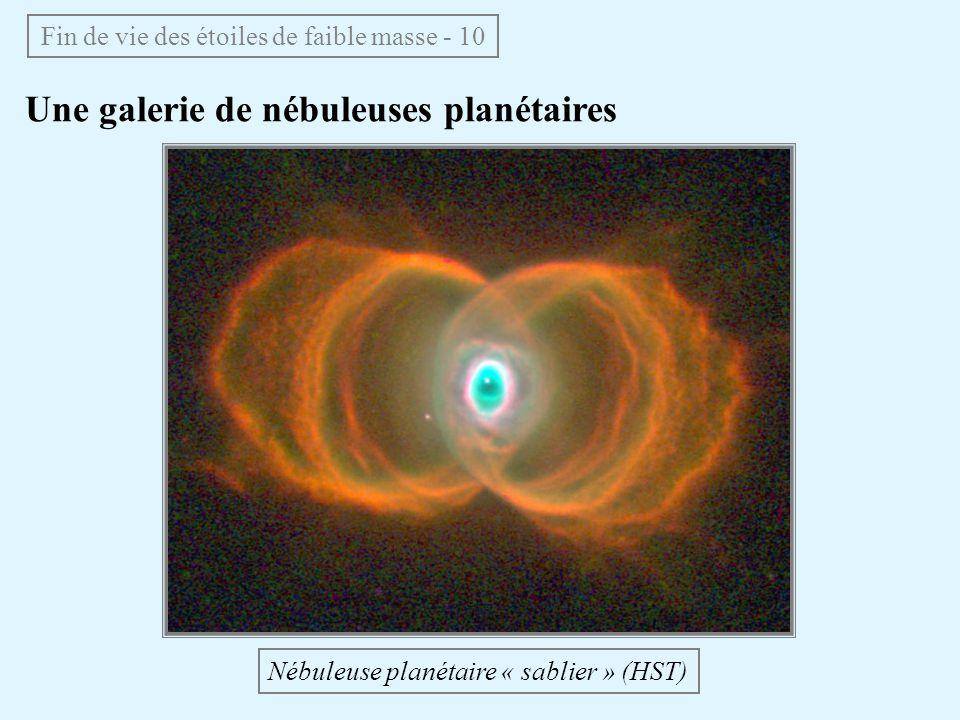 Une galerie de nébuleuses planétaires Fin de vie des étoiles de faible masse - 10 Nébuleuse planétaire « sablier » (HST)