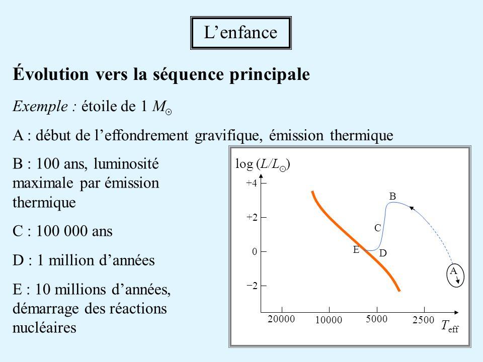 Évolution vers la séquence principale Exemple : étoile de 1 M A : début de leffondrement gravifique, émission thermique Lenfance B : 100 ans, luminosi