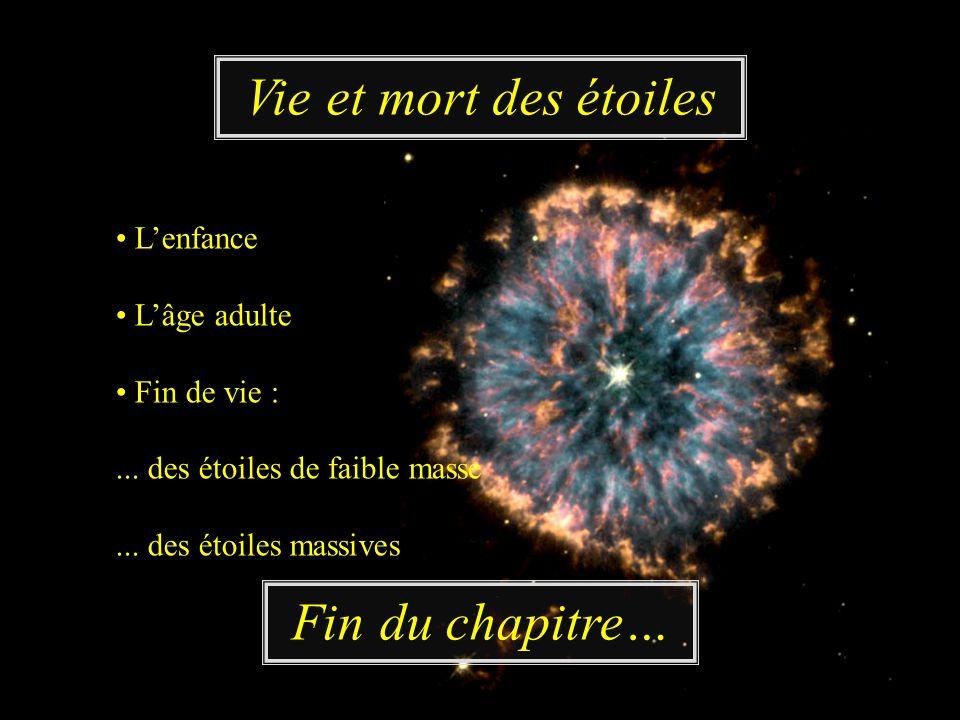 Lenfance Lâge adulte Fin de vie :... des étoiles de faible masse... des étoiles massives Vie et mort des étoiles Fin du chapitre…
