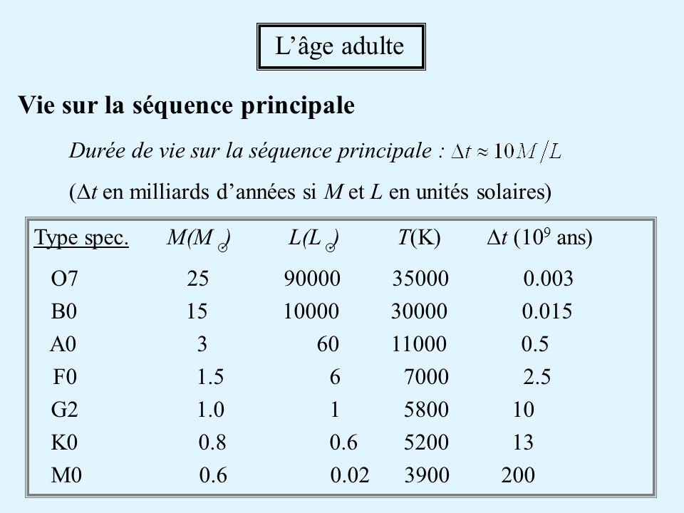 Vie sur la séquence principale Durée de vie sur la séquence principale : ( t en milliards dannées si M et L en unités solaires) Lâge adulte Type spec.