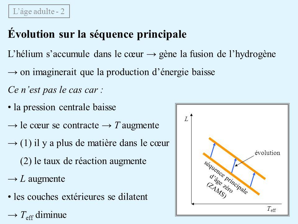 Évolution sur la séquence principale Lhélium saccumule dans le cœur gène la fusion de lhydrogène on imaginerait que la production dénergie baisse Ce n
