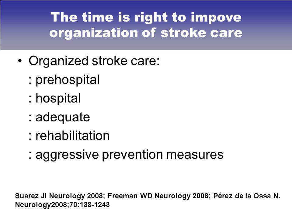 Organized stroke care: : prehospital : hospital : adequate : rehabilitation : aggressive prevention measures Suarez JI Neurology 2008; Freeman WD Neur