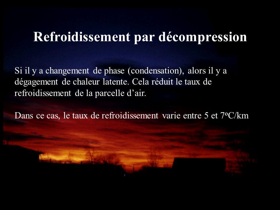 Refroidissement par décompression Si il y a changement de phase (condensation), alors il y a dégagement de chaleur latente. Cela réduit le taux de ref