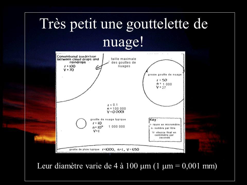 Très petit une gouttelette de nuage! Leur diamètre varie de 4 à 100 m (1 m = 0,001 mm)