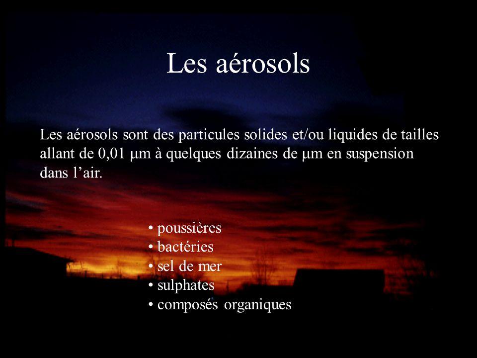 Les aérosols Les aérosols sont des particules solides et/ou liquides de tailles allant de 0,01 m à quelques dizaines de m en suspension dans lair. pou