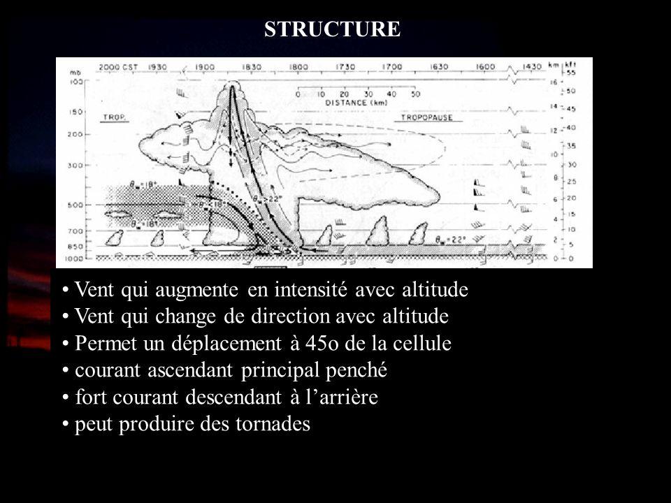 STRUCTURE Vent qui augmente en intensité avec altitude Vent qui change de direction avec altitude Permet un déplacement à 45o de la cellule courant as