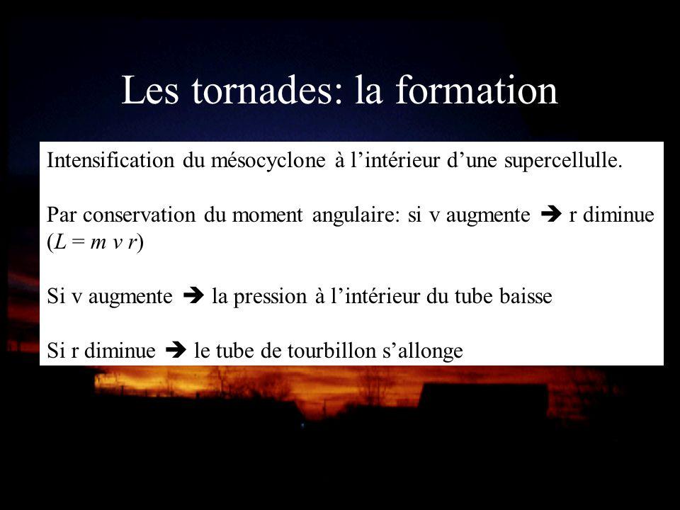 Les tornades: la formation Intensification du mésocyclone à lintérieur dune supercellulle. Par conservation du moment angulaire: si v augmente r dimin