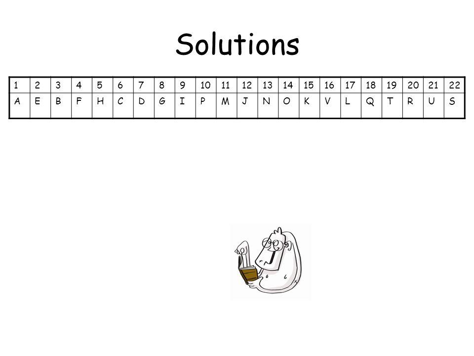 Solutions 12345678910111213141516171819202122 AEBFHCDGIPMJNOKVLQTRUS