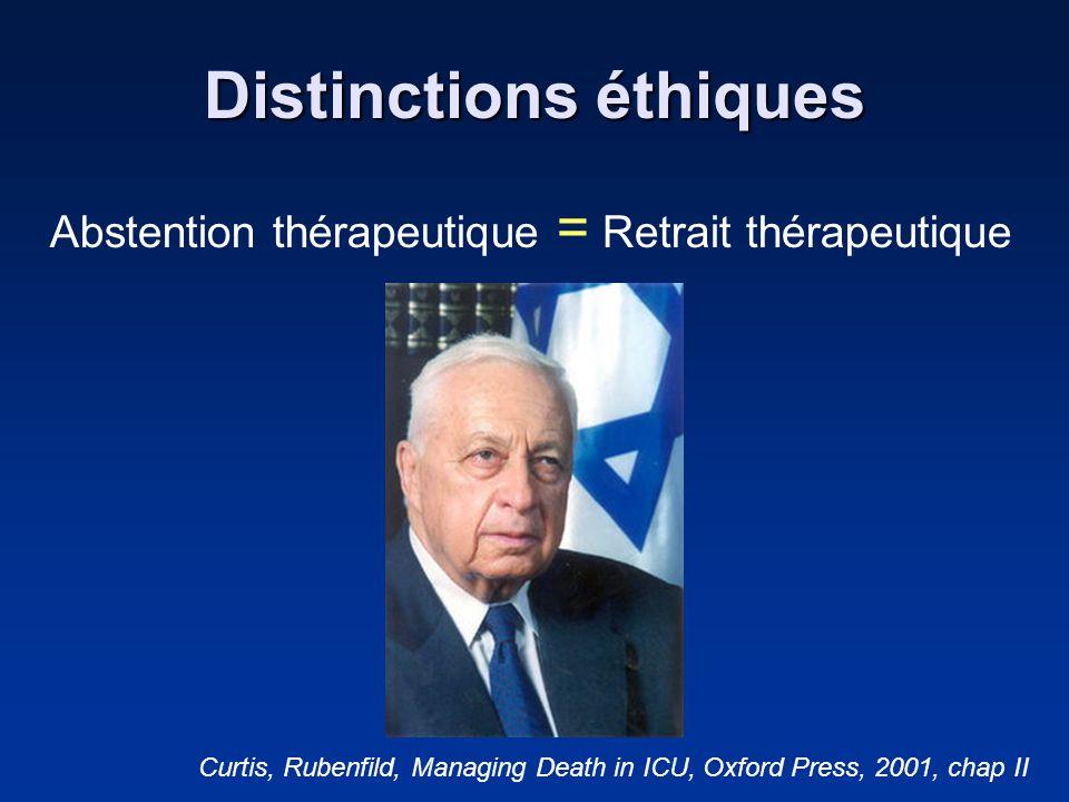 Distinctions éthiques Abstention thérapeutique = Retrait thérapeutique Curtis, Rubenfild, Managing Death in ICU, Oxford Press, 2001, chap II