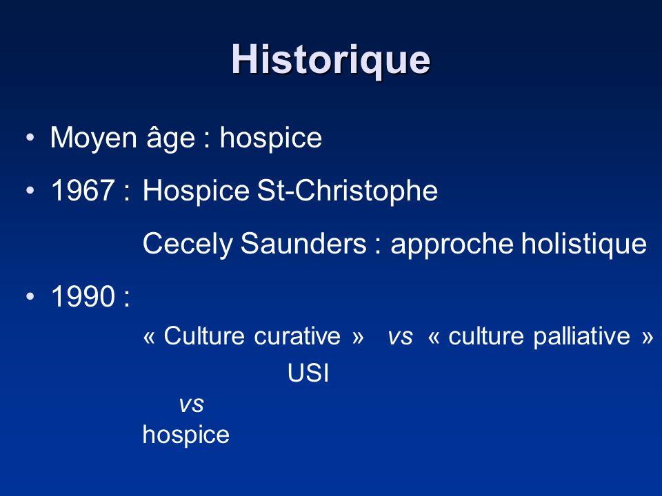 Historique Moyen âge : hospice 1967 : Hospice St-Christophe Cecely Saunders : approche holistique 1990 : « Culture curative » vs « culture palliative