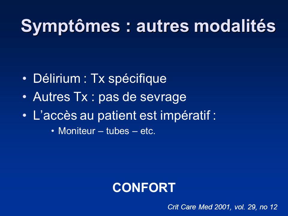 Symptômes : autres modalités Délirium : Tx spécifique Autres Tx : pas de sevrage Laccès au patient est impératif : Moniteur – tubes – etc. Crit Care M
