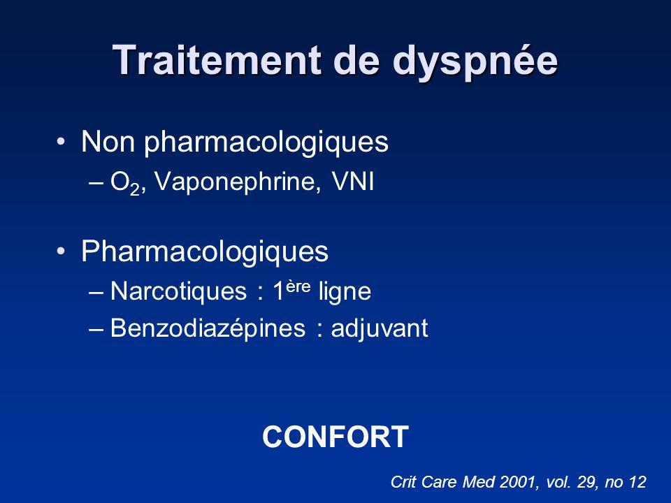 Traitement de dyspnée Non pharmacologiques –O 2, Vaponephrine, VNI Pharmacologiques –Narcotiques : 1 ère ligne –Benzodiazépines : adjuvant Crit Care M