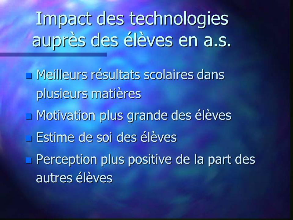 Impact des technologies auprès des élèves en a.s.