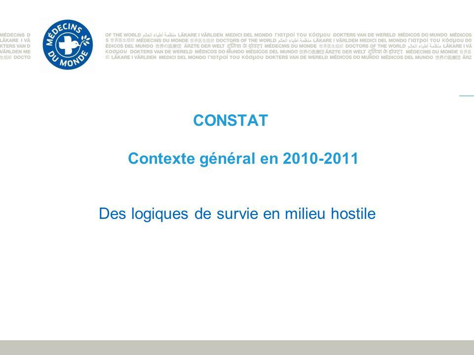 CONSTAT Contexte général en 2010-2011 Des logiques de survie en milieu hostile