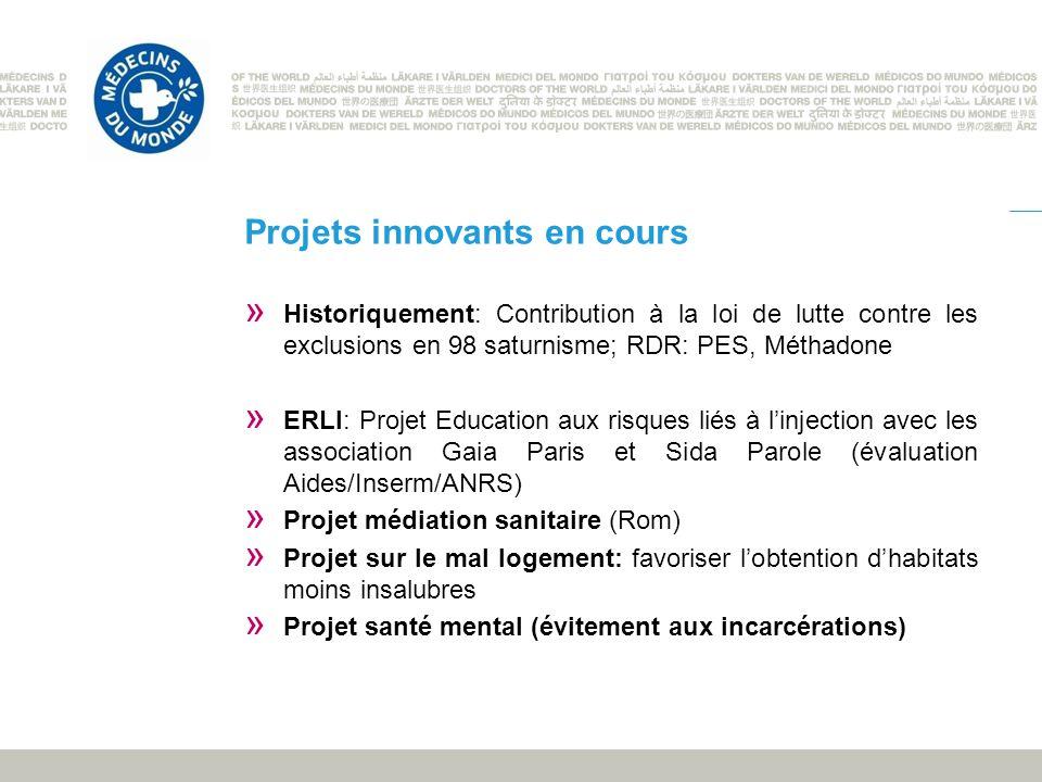 Projets innovants en cours » Historiquement: Contribution à la loi de lutte contre les exclusions en 98 saturnisme; RDR: PES, Méthadone » ERLI: Projet