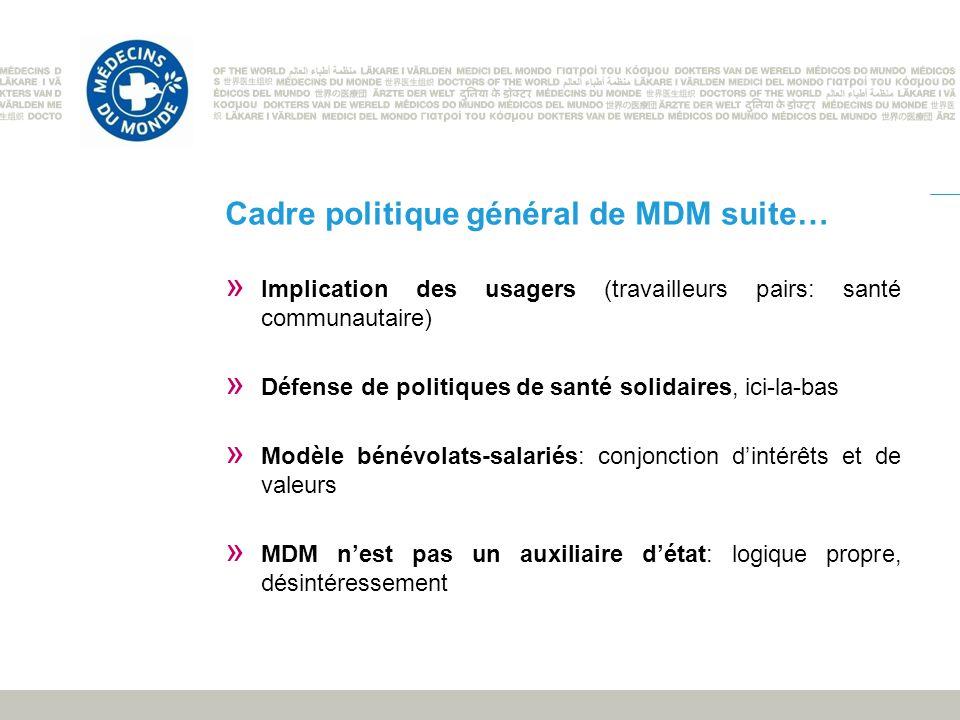 Cadre politique général de MDM suite… » Implication des usagers (travailleurs pairs: santé communautaire) » Défense de politiques de santé solidaires,