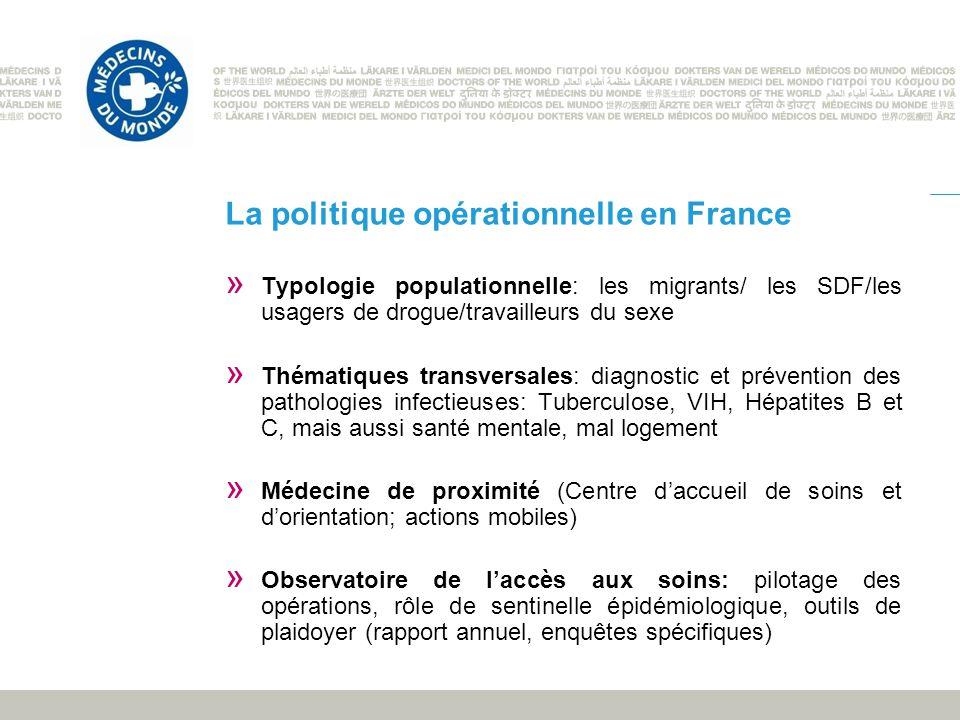 La politique opérationnelle en France » Typologie populationnelle: les migrants/ les SDF/les usagers de drogue/travailleurs du sexe » Thématiques tran